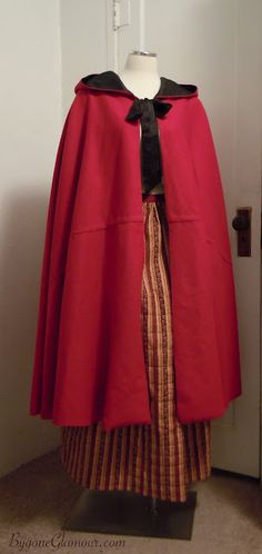 Reproduction mid 18th to early 19th century red wool cloak, handsewn based on an original at Colonial Williamsburg. via my blog, Bygone Glamour.
