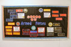 Armed Forces Bulletin Board-all 5 branches represented.  Veteran's Day?  Memorial Day?