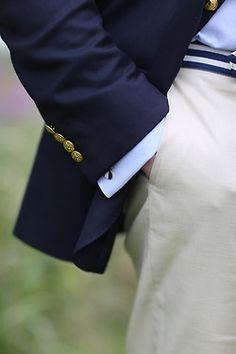 White Dress Pants — Light Blue Dress Shirt — Navy Blazer — White and Navy Canvas Belt Light Blue Dress Shirt, White Dress Pants, Light Blue Dresses, Men Dress, Tan Pants, Suit Pants, Preppy Men, Preppy Style, Nautical Style