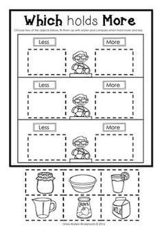 capacity worksheets for kindergarten worksheets  volume of liquid  capacity worksheets for kindergarten worksheets  volume of liquid   teacher  pinterest  capacity worksheets kindergarten math and math