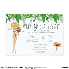 Shop Watercolor Bachelorette Beach Party Invitation created by partypapercreations. Bachelorette Itinerary, Beach Bachelorette, Bachelorette Party Invitations, Beach Wedding Invitations, Watercolor Girl, Wedding Timeline, Wedding Ideas, Wedding Planning, Trendy Wedding