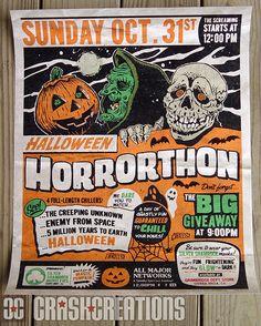 Halloween Horrorthon Print by Crash Cunningham