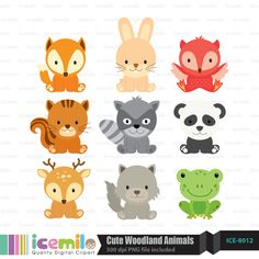 This digital clipart set including 9 Cute Woodland Animals. Each clipart saved separately as a high resolution PNG file with a transparent