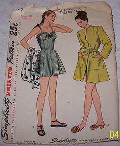 3348871da4b VINTAGE 1940 s SIMPLICITY WOMEN S BATHING SUIT   BEACH COAT SEWING PATTERN   1623