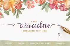Check out the Ariadne font at Fontspring. Ariadne is a handwritten font family inspired by modern handlettering and it includes three fonts: Ariadne Script, Ariadne Sans and Ariadne Sans Condensed. Calligraphy Fonts, Typography Fonts, Script Lettering, Serif Font, Sans Serif, Modern Calligraphy, Web Design, Graphic Design, Character Map