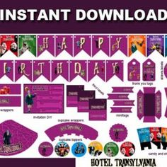 HOTEL TRANSYLVANIA Party Kit Printable in English. Instant download!