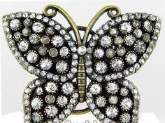 Rhinestone Butterfly Belt Buckle