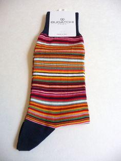 Bugatchi Uomo NWT Men's Socks Colorful Navy Striped Socks 1 Size Neiman Marcus #BugatchiUomo #Casual