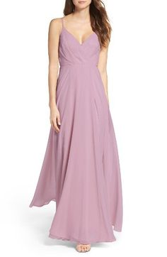 Lulus Lulus Surplice Chiffon Gown available at #Nordstrom - IN BLUSH