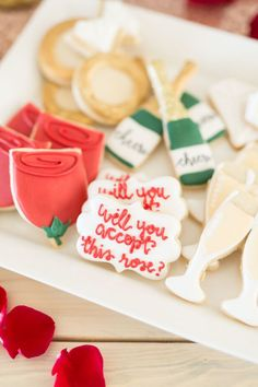 """Don't miss this rose-studded """"The Bachelor"""" Viewing Party at Kara's Party Ideas. It's fun for fans and non-fans alike! The Bachelor Tv Show, Bachelor Cake, Bachelor Night, Bachelor Parties, Abc Party, Party Games, Bachelorette Party Planning, Wedding Cakes With Flowers, Sugar Cookies"""