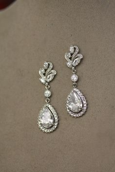 Bridal Earrings Wedding Swarovski Crystal by simplychic93 on Etsy