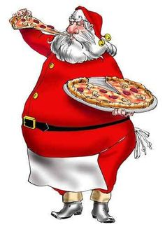 Santa loves pizza too! Knead Pizza, Birth Of Jesus Christ, Christian Holidays, Love Pizza, Pizza Party, Gift Exchange, Pagan, Big Day, Santa