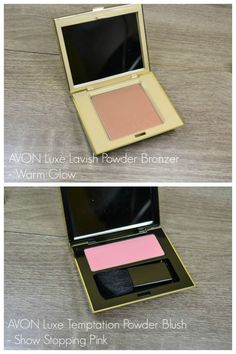 Avon Luxe Lavish Powder Bronzer in Warm Glow and Avon Luxe Temptation Powder Blush in Show Stopping Pink review and swatches via…