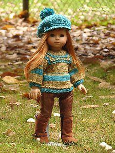 "Hand Knit Sweater & Cap set by Debonair Designs for American Girl 18"" Gotz Dolls"
