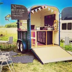 Awesome converted horse box mobile bar. The Angels Share mobile #bar Open for business! Facebook - The Angels Share Mobile Bar #events #wedding #weddingbar  #mobilebar #vintageweddings  #weddingparty  #weddingday #party #festival #instawedding