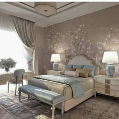 Bedroom Design: Turn Your Master Bedroom into a Relaxing Haven! Bedroom Colors, Home Decor Bedroom, Modern Bedroom, Living Room Decor, Bedroom Ideas, Trendy Bedroom, Bedroom Designs, Luxury Bedroom Design, Interior Design