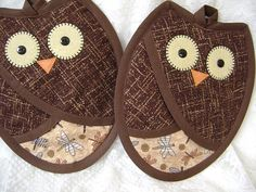 Brown Owl Potholders Pot Holders Owl Kitchen by VernieLeeDesigns