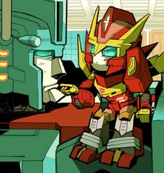 Ultra Magnus is apparently trying to figure out whether he should let Rodimus stayed baby, or get him cured. Either way is probably not his idea of fun. :)<< So cute!