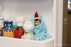 Elf on the Shelf - In the refrigerator with a blanket.  I have seen the green milk idea but this is easier for me.