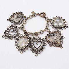 Vintage Antique Heart Shape Charm Bracelet by Budgetjewlry on Etsy, $3.50
