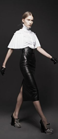 Alexander McQueen Fall 2013 RTW. Tailored Leather Skirt, White Cape, Black and White, Houndstooth, Femme Fatale
