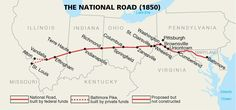 (National Road)The new road that connect Cumberland, Maryland, Vandalia Illinois  built from 1811~1838