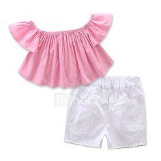 e4a229eb0a Bebé Chica Formal Un Color Manga Corta Regular Regular Algodón   Poliéster  Conjunto de Ropa Rosa