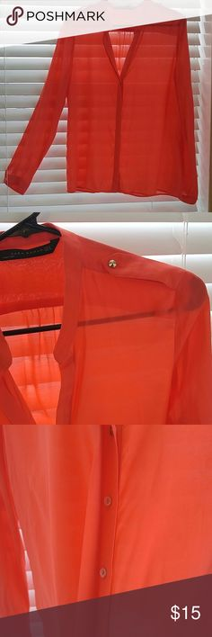 Zara Woman Top Size M Zara Woman semi sheer top with single gold stud accents on shoulder and wrists. Buttons are covered by extra layer. Orange-red color works in any season. Zara Tops