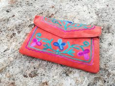Your place to buy and sell all things handmade Leather Embroidery, Embroidered Bag, Cute Tshirts, Lining Fabric, Suede Leather, Leather Wallet, My Etsy Shop, Beautiful Flowers, Purses