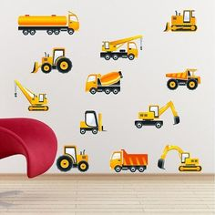 Construction Equipment Stickers Peel and Stick Decal Removable/Repositionable Wall Art on Etsy, $24.99
