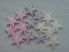 30 GLITTERY PINK, LILAC & WHITE STARS - EDIBLE SUGAR CAKE DECORATIONS / TOPPERS  | eBay