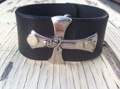 Men's leather cuff bracelet with Skull and by ReTreasuredLeather, $28.00