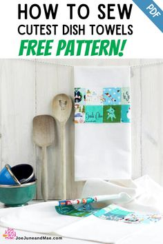 If you're looking for Free Quilt Patterns, you may check this out how to sew the cutest dish towels! I want to show you how to make the cutest dish towels with recycled cotton sheets and leftover fabric scraps. #joejuneandmae #freequiltpatterns #quiltpatternsfree #quiltingprojects Beginner Quilt Patterns, Modern Quilt Patterns, Paper Piecing Patterns, Quilt Block Patterns, Quilt Blocks Easy, Easy Quilts, Scrappy Quilts, Cute Sewing Projects, Sewing Ideas