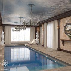 Бассейн в доме, выполненном в английском классическом стиле, мы решили в стилистике остальных помещений дома. Он богато украшен фресками, деревянными резными элементами и скульптурами. Использование современных материалов позволяет сделать фрески прочными и влагостойкими, что идеально подходит для декора бассейнов и ванных комнат. #Primogatto_interior_project #primogatto_pool_project #siprivate_decor_home #Siprivate_manufacture #primogatto #nashi_doma #siprivate_fresko #дизайн