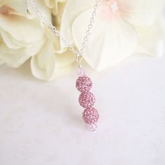 Swarovski Crystal Necklace, 925 Sterling Silver Necklace, Pink Rhinestone Ball Necklace    *Materials: Swarovski Crystal, 925 Sterling Silver Chain