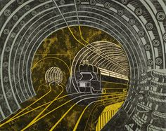 Artwork for a poster advertising the Post Office (London) Railway (AKA Mail Rail) by Edward Bawden. (POST 109/515)