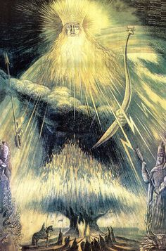 swordofsteel: Perun (Перун), god of thunder & lightning in the slavic pantheon A Thunder God for Thursday. Anima Mundi, Legends And Myths, Thunder And Lightning, Spiritus, Fantasy Landscape, Fantasy World, Middle Ages, Deities, God