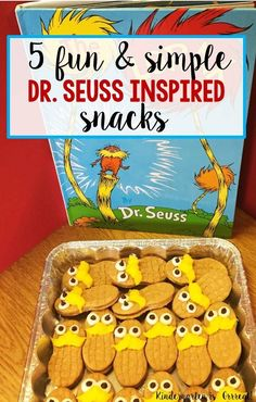 Here are 5 easy Dr. Seuss Snacks! These are great for Dr. Seuss baby showers, Dr. Seuss Birthday Parties, Read Across America Week, Dr. Seuss Week, and any educational event in the elementary school! Dr. Seuss inspired snacks for: The Cat in the Hat, Hop on Pop, One fish Two Fish, The Lorax, and Green Eggs and Ham! Check out number 4 – it is my favorite!