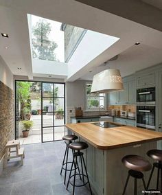 Planning a period home kitchen extension? - Chris Dyson side return kitchen-diner with rooflight and Crittal doors - Kitchen Interior, New Kitchen, Island Kitchen, Rustic Kitchen, Kitchen Layout, Kitchen Decor, Kitchen Backsplash, Kitchen Counters, Narrow Kitchen With Island