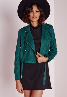 Missguided - Faux Suede Biker Jacket Teal