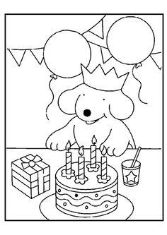 kleurplaat pompom verjaardag verjaardag kleurplaten