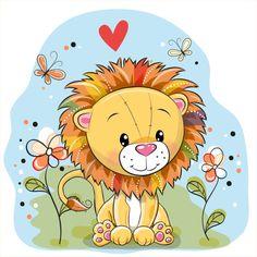 Leão com flores e borboletas em um prado - ilustração de arte em vetor