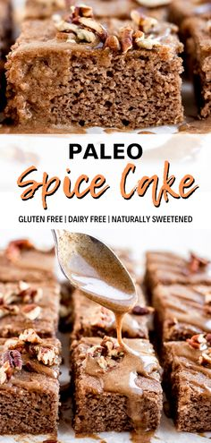 Paleo holiday recipes are a must! This paleo spice cake is so delicious and perfect for the holiday season. It's made with gluten free coconut flour and topped with crunchy pecans and a dairy free cinnamon maple glaze. This spice cake is the Spice Cake Recipes, Best Paleo Recipes, Dairy Free Recipes, Dessert Recipes, Gluten Free Spice Cake Recipe, Paleo Sweets, Easy Paleo Desserts, Maple Glaze, Holiday Desserts