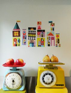 Jolly little houses wall decals by EllenGiggenbach on Etsy - love these for a fun family room or playroom!