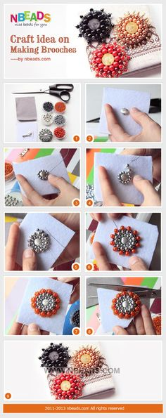 Craft Idea on Making Brooches – Nbeads Beading Projects, Beading Tutorials, Embroidery Jewelry, Beaded Embroidery, Beaded Brooch, Beaded Jewelry, Jewellery, Jewelry Patterns, Beading Patterns