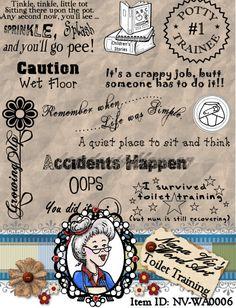 Toilet Training Word Art Sentiments by NanaVicsDigitals on Etsy