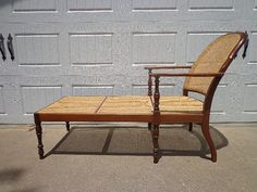 Fabulous Antique Cane Chaise Lounge French Neoclassical Chair Armchair Wood Country Cottage Regency Vintage Provincial Seating Mid Century