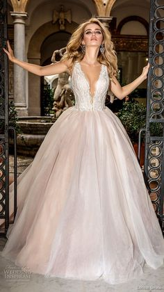 louise sposa 2018 bridal sleeveless deep plunging v neck heavily embellished bodice romantic blush color ball gown a line wedding dress open v back chapel train (19) mv -- Louise Sposa 2018 Wedding Dresses
