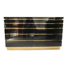 J.C. Mahey Black Lacquer and Brass Chest of Drawers, France 1970