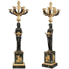 Pair of Impressive Empire Gilt-Bronze Candelabra Signed THOMIRE A PARIS French Sculptor, French Furniture, Furniture Design, French Empire, Philippe, Oil Lamps, Art Object, Decorative Objects, Candlesticks